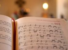 Hymnal open to music