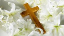 Easter Lilies with wooden cross